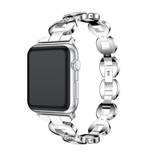 For Apple Watch Series 3 38MM, Mchoice Luxury Alloy Crystal Link Bracelet Watch Band Strap (D) ()