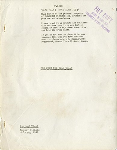 FOR WHOM THE BELL TOLLS (1942) Vintage original Revised Final script of Ernest Hemingway adaptation