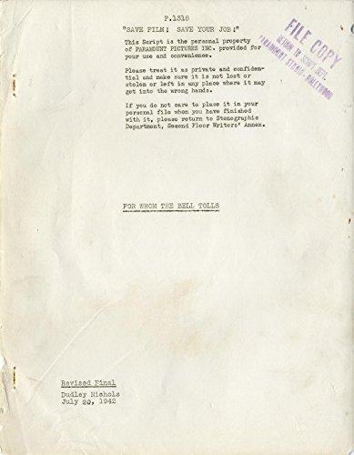 FOR WHOM THE BELL TOLLS (1942) Vintage original Revised Final script of Ernest Hemingway adaptation