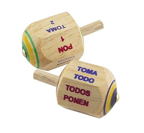 Handmade Pirinola Toma Todo - Set of 2 Wood Spinning top Traditional Game in Spanish ()
