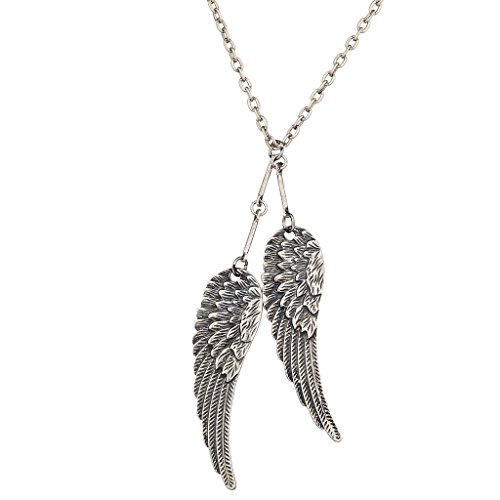 Lux Accessories Silvertone Feathered Wings Necklace