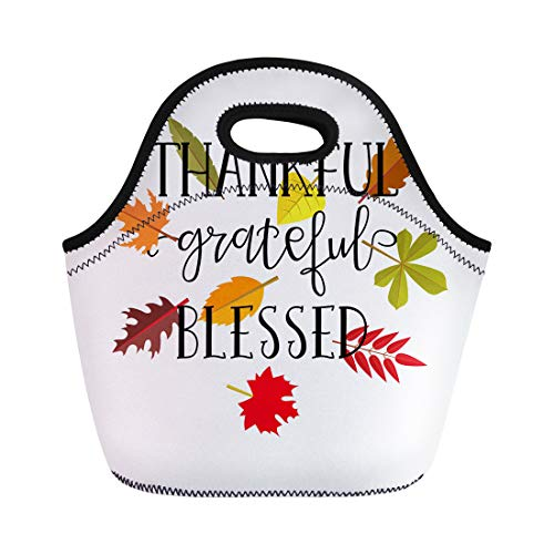 Semtomn Lunch Tote Bag Autumn Thankful Grateful Blessed Simple Lettering Graphic Thanksgiving Day Reusable Neoprene Insulated Thermal Outdoor Picnic Lunchbox for Men Women ()