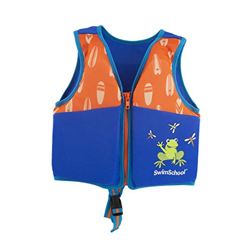 SwimSchool New & Improved Swim Trainer Vest, Flex-Form, Adjustable Safety Strap, Easy on and Off, Small/Medium, Up to 33 lbs., Blue/Orange by SwimSchool (Image #4)