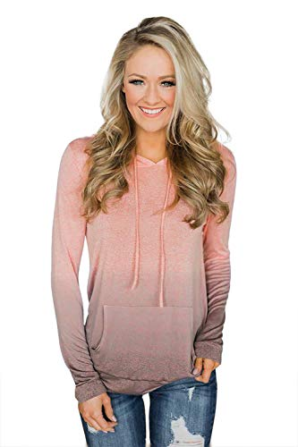 - Minipeach Women's Pullover Long Sleeve Hoodies Coat Loose Casual Sweatshirts with Pocket Coral Pink