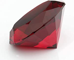 Trolleyshop 1pc Big 60mm Deep Ruby Red 60mm Cut Glass K9 Crystal Giant Diamond Shaped Decoration Jewel Paperweight Wedding Favors, Home Decor, Valentine's Day Gift Amazon Shipping