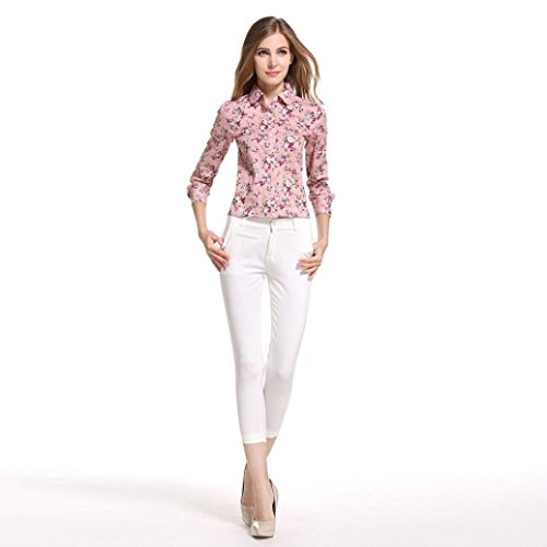 Femme 80s Taille Chemise Femme Taille Tops Tops Rose Tunique Floral Ansenesna en Imprim Vintage Grande Encolure V wvfx5xgqS