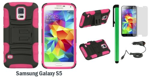 - Samsung Galaxy S5 Premium 3 in 1 Heavy- Duty Dual Shield Protector with Kick Stand Slide Holster Cover Case (2014 March Released; Carrier: Verizon, AT&T, T-Mobile, Sprint) + Car Charger + Screen Protector Film + 1 of New Assorted Color Metal Stylus Touch Screen Pen (PINK Silicone / BLACK Plastic)