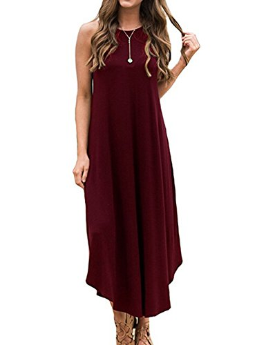 Women's Petite Sleeveless Halter Jersey Maxi Dress Casual Long Dresses, Wine Red -