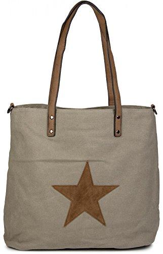 de bolso 02012048 hombro tipo Gris cosida mano bolso señora con de Gris pardo «shopper» tela Pardo bolso de Color estrella de styleBREAKER 7a6qn57