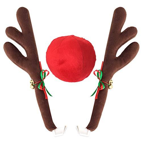 Qjoy Reindeer Antlers Jingle Bells Costume Rudolph Car