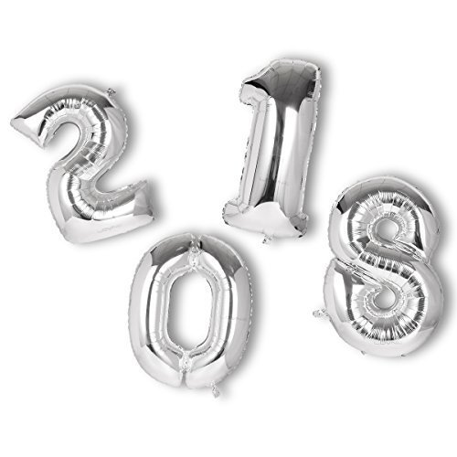 40inch Giant Sliver 2018 Number Foil Balloons [Set of 4] for New Year Eve Party Festival Decoration