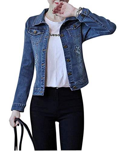 Donna Lunga Libero Cappotto Jacket Blau Fit Outerwear Slim Tempo Glamorous Semplice Vintage Eleganti Digitale Corto Primaverile Ricamo Moda Jeans Giacche Manica Autunno Bavero ZH8fnpHrWx