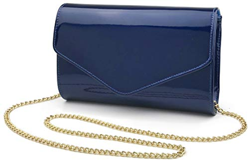 Glossy Envelope Evening Clutch Faux Patent Leather Women Chain Shoulder Bag Solid Color Purse (DarkBlue)