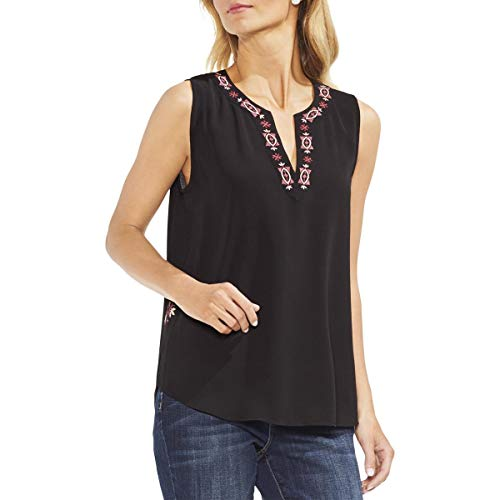 VINCE CAMUTO Womens Embroidered V-Neck Pullover Top Black - V-neck Embroidered Pullover