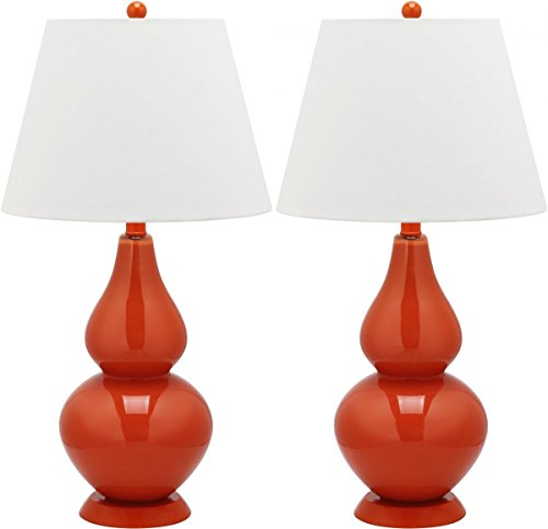 Safavieh Lighting Collection Cybil Blood Orange Double Gourd 26.5-inch Table Lamp (Set of 2) (Orange Standard Lamp)
