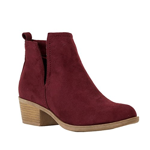 Reneeze AH67 Women's Low Stacked Cut Out Ankle Boots Dress Heels, Color Burgundy, Size:6