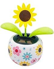 Dancing Flowers Solar Powered Swinging Dancing Flower Pot Dashboard Dancing Sunflower Toy Colorful Solar Flower Toy for Car Dashboard Office Desk Home Decor