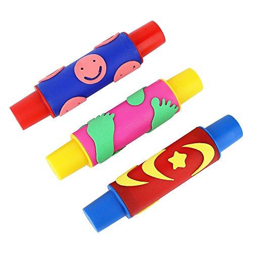 KidsペイントローリングピンスタンプスポンジローラーStamper子供EvaフォームPatternedペイントツールKindergartenペイントおもちゃ3pcsアソートカラー
