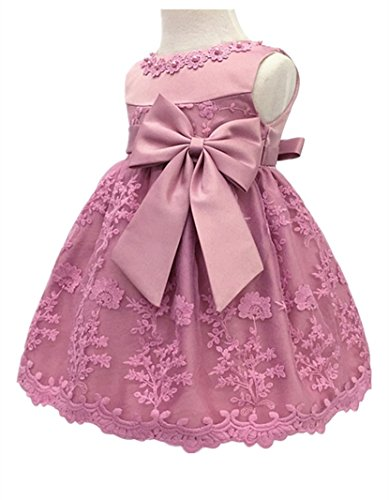 H.X Baby Girl's Newborn Bowknot Gauze Christening Baptism Dress Infant Flower Girls Wedding Dresses 13 Color (3M/0-5 Months, Bean Powder) (Dress Powder)
