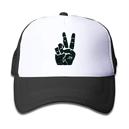 Wufive Hand Peace Sign Classic Unisex Children's Trucker Hats One Size Black ()