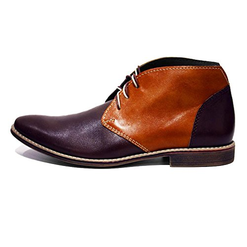 Mens Handmade NUORO Modello Cowhide Blue Leather PeppeShoes Boots Ankle Chukka Smooth Lace Italian Leather Navy Up WXxSTTFn