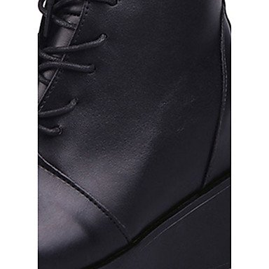 DESY Damen Stiefel Springerstiefel Herbst PU Normal Schnürsenkel Blockabsatz Schwarz 5 - 7 cm