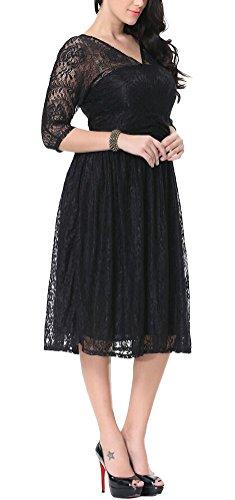 MILEEO Damen Spitze Kleid Abendkleid Knielang A-Linie V-Ausschnitt Harbarm Elegant Schwarz Übergröße Schwarz 80TNhV