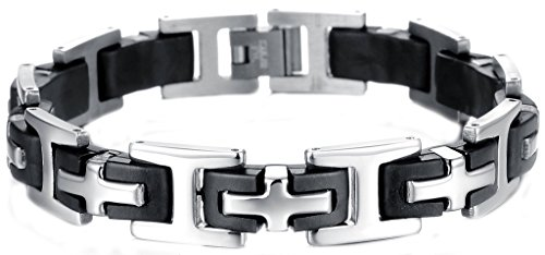 Epinki Men's Stainless Steel Silicone Jewelry Chain Bracelet Classic Cross Link,Black And White