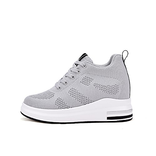 8 High Wedges cm Womens Sneakers Trainers Gray LILY999 Heel Top Ladies Hidden Lace up qwpfwnXUxT