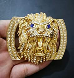 Lion Head Belt Buckle with Diamond