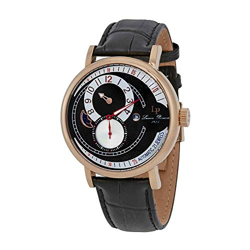 Lucien Piccard Men's 'Supernova' Automatic Stainless Steel and Black Leather Casual Watch (Model: LP-15157-RG-01) (Lucien Piccard White Wrist Watch)
