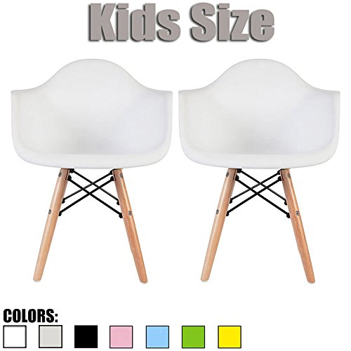 2xhome Set of Two (2) - Kids Size Eames Armchairs Eames Chairs Seat Natural Wood Wooden Legs Eiffel Childrens Room Chairs Molded Plastic Seat Dowel Leg (White) by 2xhome