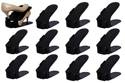 (Organize Joy Shoe Slots - Shoe Organizer for Closet, Set of 12 Shoe Rack Space Savers, Black Plastic)