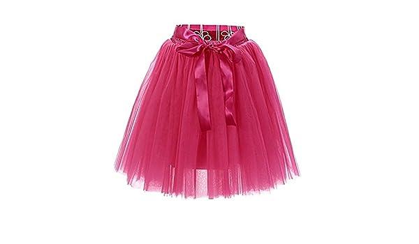 FuweiEncore Falda de Ballet Tutú de Tul Falda Corta de los Años 50 Colores  Variados para Mujeres Niñas con Lazo de Dos Vueltas (Color   Rosado d989f93a803
