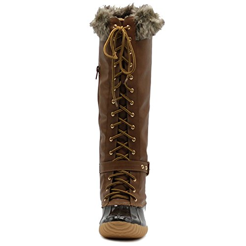 Faux Duck Shoe Buckled Up Women's High Tan Knee Boots Fur Ollio Lace nYTxqwzHp6