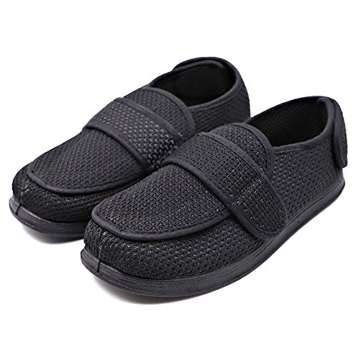 (MEJORMEN Mens Diabetic Slippers Extra Wide with Adjustable Closures Edema Orthopedic Shoes Arthritis Swollen Feet House Footwear (12 M US, Breathable Mesh - Black))