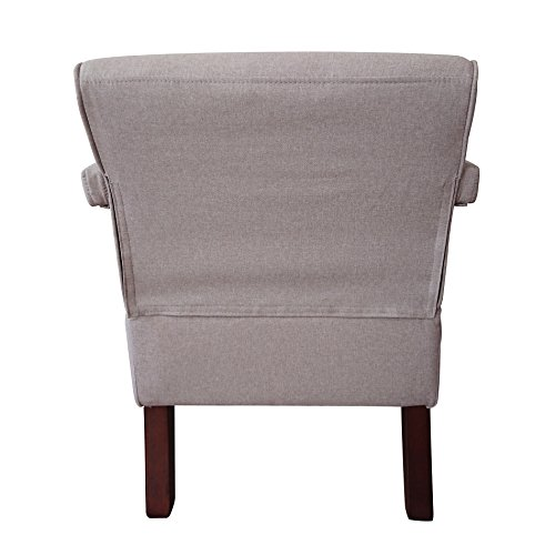 IDS Living Room Bedroom Contemporary Stylish Button-Tufted Upholstered Accent Arm Chair Wooden Leg -Light Grey Fabric by IDS Home (Image #2)