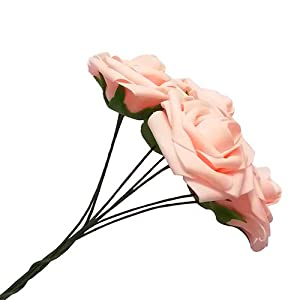 J-Rijzen Jing-Rise Artificial Flowers Real Looking Fake Roses with Stem for DIY Wedding Bouquets Centerpieces Party Baby Shower Home Decorations (Blush, 30pcs Standard) 2