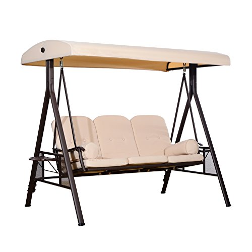Outsunny Outdoor Patio 3 Seat Steel Canopy Cushioned Bench S