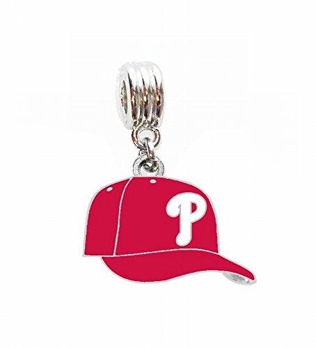 Heavens Jewelry Philadelphia Phillies Baseball Cap Team Charm Slide Pendant for Your Necklace European Bracelet DIY Projects ETC ()
