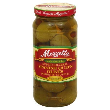 Olives Stuffed Pimiento (Mezzetta Super Colossal Spanish Queen Olives Pimienta Stuffed, 10 Oz (Pack of 2))