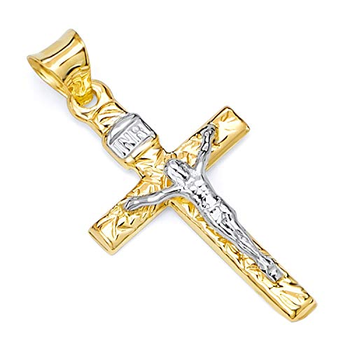 Two Tone Crucifix Pendant - GoldenMine Fine Jewelry Collection 14k Two Tone Gold Crucifix Cross Religious Charm Pendant