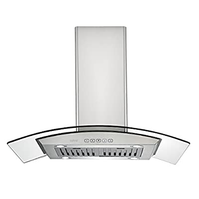 Zuhne Chorus Series Island & Wall Mount Kitchen Range or Stove Vent Exhaust with Tempered Glass Canopy