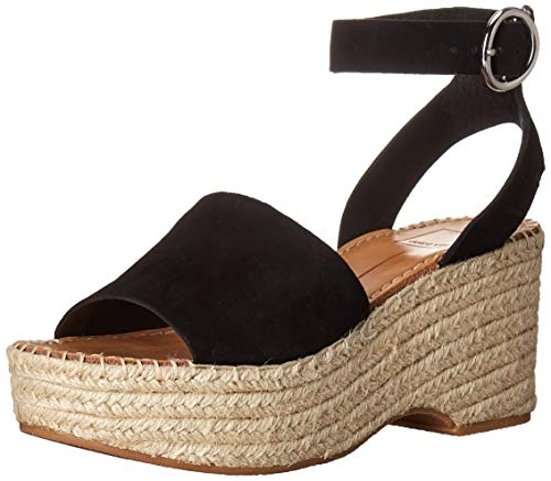 Dolce Vita Women's Lesly Wedge Sandal Onyx Suede 8.5 M US