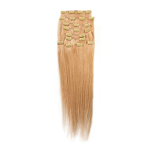 "Price comparison product image Sono 1 Count 140 g 16"" Clip-in Straight Sono 1 Count 100% Human Hair Extensions,  24 Light Gold Blonde"