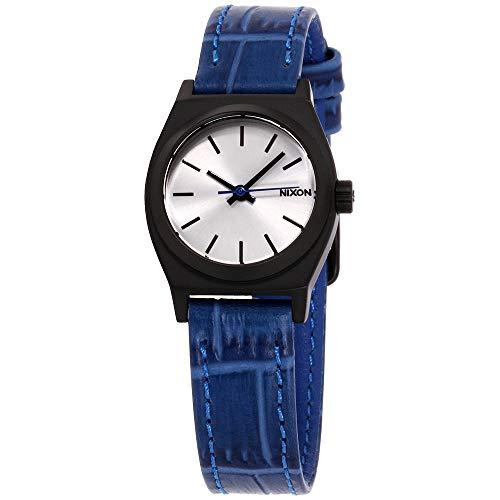 Nixon Women's A5092131 Small Time Teller Leather Analog Display Japanese Quartz Blue Watch