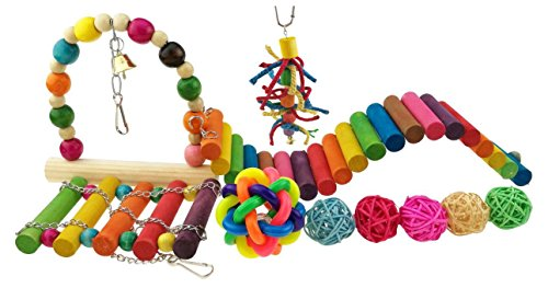 Set Of 10 Colorful Pet Toy Wooded Swing Handmade Rattan Chewing Toy Chasing Toy With Bell Rainbow Plank Road For Polly Parrot Bird Hamster Squirrel Toy