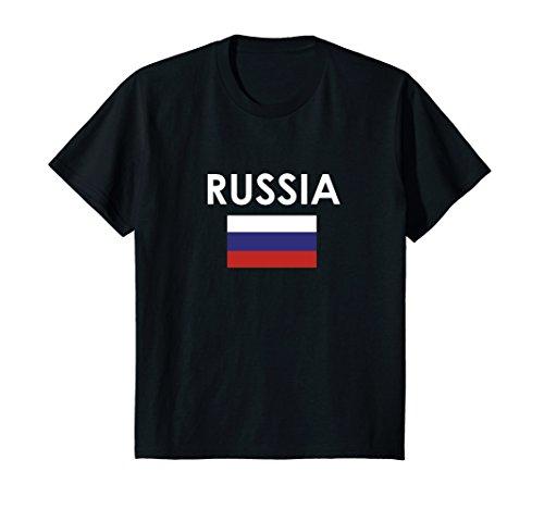 Kids Russia Flag T Shirt for Russians Loving Americans 8 Black Russia Flag T-shirt