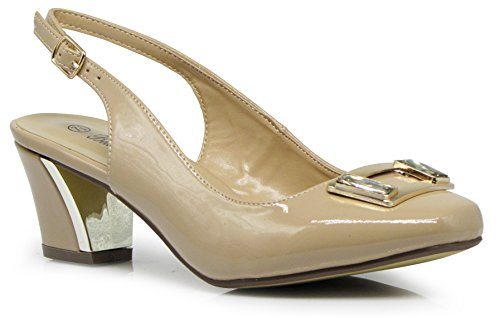 Lime2N Womens Sling Back Heeled Patent Pumps Sandals Nude ZiXU28U97b