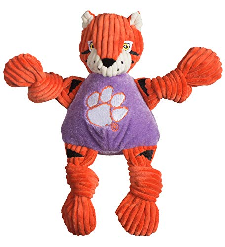 HuggleHounds Officially Licensed College Mascot Plush Corduroy Durable Squeaky Knottie, Great Dog Toys for Aggressive Chewers (Clemson University The Tiger, Small) ()